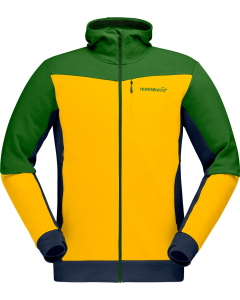Norröna Men falketind warmwool2 stretch Zip Hood lemon chrome/treetop