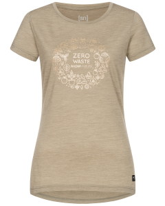 SN Women ZERO WASTE TEE Seneca Rock Melange/Gold